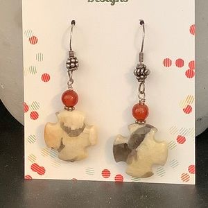 Feldspar cross earrings